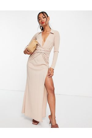 ASOS Rib shirt twist maxi dress with high split in -Neutral