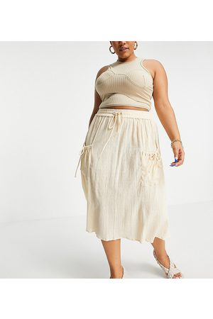 ASOS ASOS DESIGN Curve midi skirt with drawstring waist in natural crinkle in -White