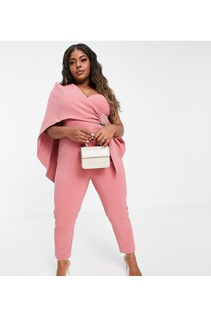 Lavish Alice Plus One shoulder cape detail jumpsuit with belt in -Pink