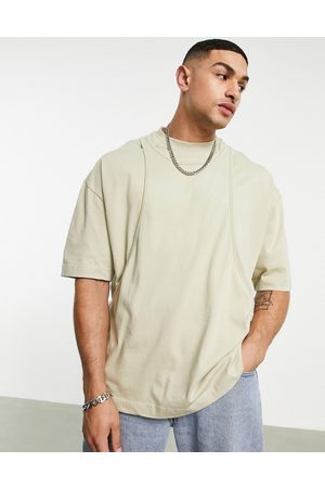 ASOS Oversized double layer t-shirt in washed khaki-Green