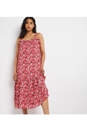 Simply Be Tiered sundress in red ditsy floral