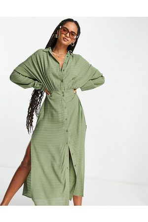 ASOS Button-front maxi beach shirt dress in texture in -Green