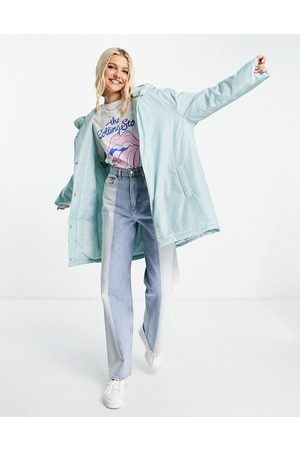 ASOS DESIGN Padded button through raincoat with hood in