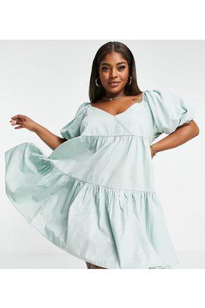 ASOS Curve Women Mini Dresses - ASOS DESIGN Curve cotton tiered mini smock dress in light green