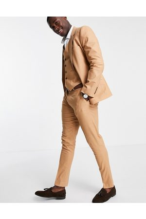 ASOS Men Formal Pants - Skinny suit pants in cotton linen-Brown
