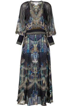 Camilla Shirred-waist V-neck dress