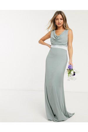 TFNC Women Maxi Dresses - Bridesmaid cowl neck bow back maxi dress in -Green