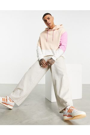 ASOS Co-ord oversized hoodie in pink and beige colour-block