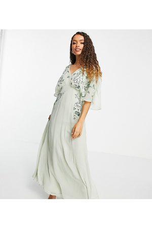 ASOS ASOS DESIGN Petite blouson embroidered maxi dress with cape back-Green
