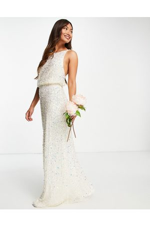 Maya Bridal maxi wedding dress with low back in all-over 3D sequins-White