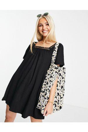 ASOS DESIGN Women Mini Dresses - Textured mini dress with crochet trim in