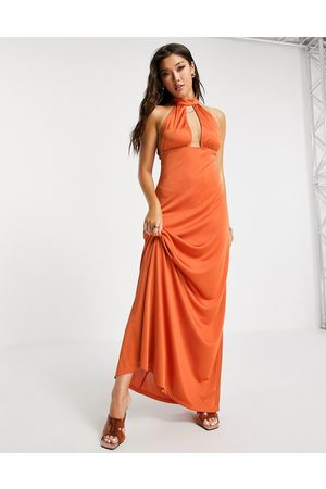 ASOS Satin 70s halter maxi dress in -Copper
