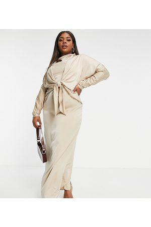 ASOS ASOS DESIGN Curve batwing maxi dress with tie front detail-Grey
