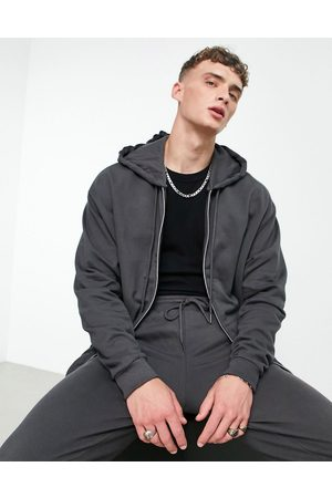 ASOS Co-ord oversized zip-up hoodie in washed black