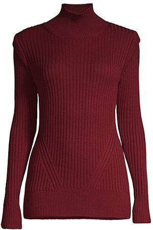 Donna Karan Flange Ribbed Mockneck Sweater
