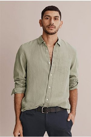 COUNTRY ROAD Men Long sleeves - Long Sleeve Organically Grown Linen Shirt - Faded Moss