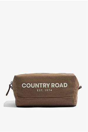 Country Road Organically Grown Cotton Modern Logo Wash Bag - Dark Stone
