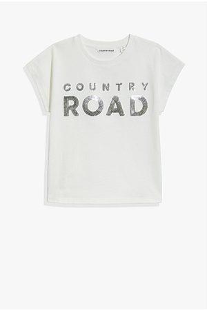 Country Road Girls Short Sleeve - Organically Grown Cotton Logo Sequin T-Shirt - Metallic