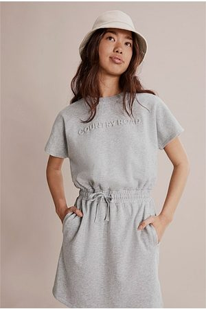 COUNTRY ROAD Teen Recycled Cotton Logo Sweat Dress - Light Marle
