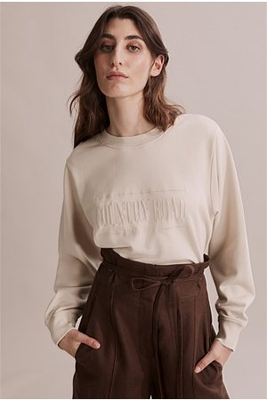 COUNTRY ROAD Women Sweatshirts - Verified Australian Cotton Heritage Sweat - Sand