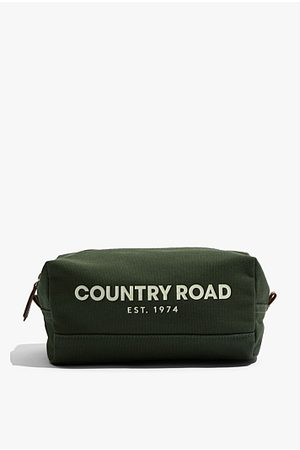 COUNTRY ROAD Organically Grown Cotton Modern Logo Wash Bag - Forest