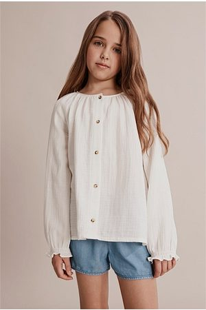 COUNTRY ROAD Long Sleeve Textured Shirt - Marshmallow