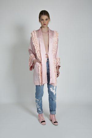 Alice Archer Eberta Silk Ruffle Trim Kimono