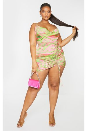 PRETTYLITTLETHING Plus Abstract Cowl Ruched Front Bodycon Dress
