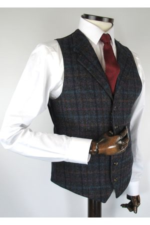 Torre With Multicolour Check Tweed Suit Waistcoat