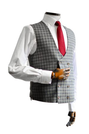 Gibson London Cheyne Grey With Navy & Check Double-Breasted Suit Waistcoat