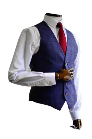Torre Navy & Purple Prince Of Wales Check Suit Waistcoat