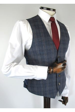 Torre Navy With Brown Prince Of Wales Check Tweed Suit Waistcoat