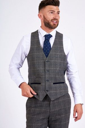 "Marc Darcy Scott Tweed Waistcoat Mens 34"" Chest S"