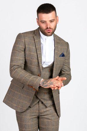 "Marc Darcy Ted Tan Tweed Blazer Mens 34"" Blazer"
