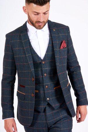 """Marc Darcy Eton Navy Check Blazer Mens 34"""" Chest"""