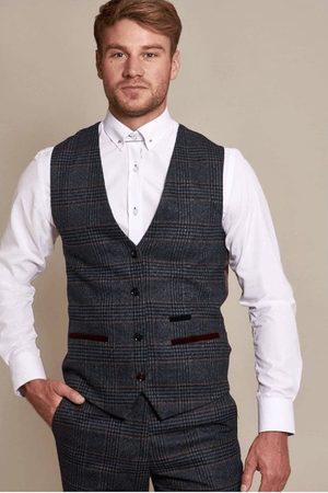 "Marc Darcy Luca Navy Tweed Check Waistcoat Mens 34"" Ch"