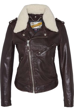 Schott NYC Women Outdoor Jackets - LCW2607 Lady Perfecto Jacket with Removable Sheepskin Collar Plum