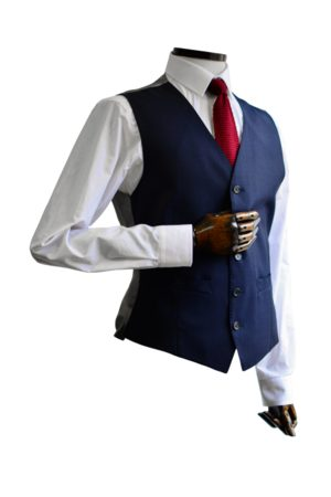 Scott by the Label Navy Shadow Check Suit Waistcoat