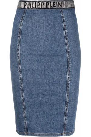 Philipp Plein Women Pencil Skirts - Super Stretch denim pencil skirt