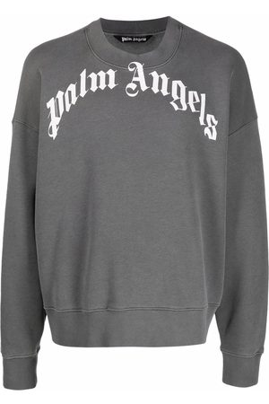 Palm Angels GD CURVED LOGO CREW BLACK WHITE