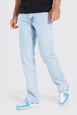 Boohoo Mens Ice Tall Straight Leg Popper Hem Jean