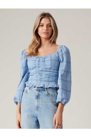 Forever New Indiana Check Crop Blouse