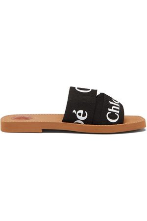Chloé Woody Canvas And Leather Slides - Womens