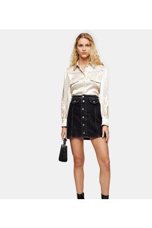 Topshop Denim button-through skirt in