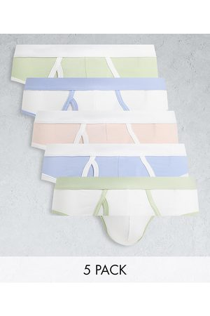 ASOS 5 pack briefs with contrast pastel waistbands