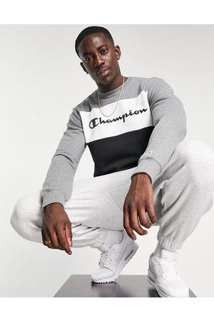 Champion Large script chest logo colour block sweatshirt in grey-Navy