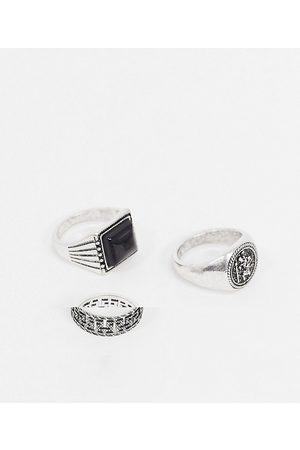 ASOS 3 pack ring set with black stone and signet in burnished tone