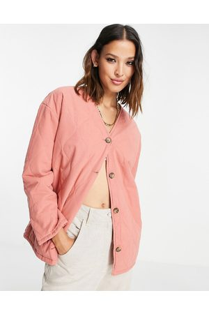Topshop Washed quilted ovoid jacket in