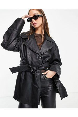 ASOS Women Leather Jackets - Faux-leather mum belted jacket in