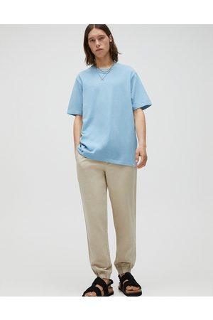 Pull&Bear Linen chino track pants in -Neutral